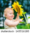 Smiling baby with sunflower on summer field - stock photo