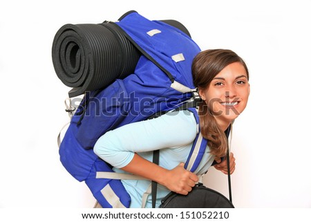 smiling backpacker with nose ring - stock photo