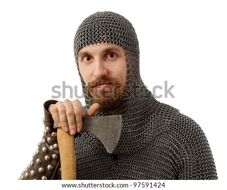smiling bearded warrior with axe, isolated on white