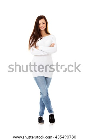 Smiling beautiful brunette young woman - stock photo
