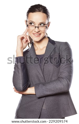 smiling beautiful business woman has a nice idea