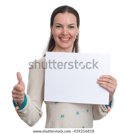 smiling beautiful girl holding blank white paper sheet. Isolated