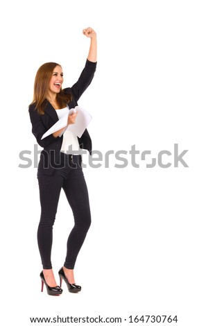 Smiling beautiful woman holding documents and raising hand. Full length studio shot isolated on white. - stock photo