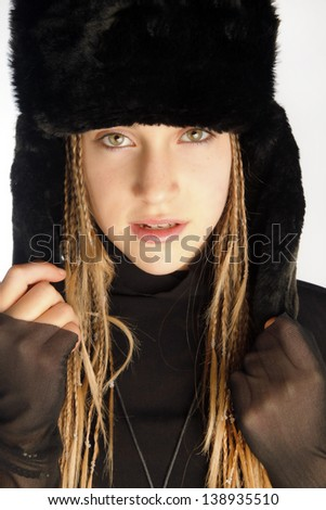 Smiling Beautiful Woman In Black Fur Hat