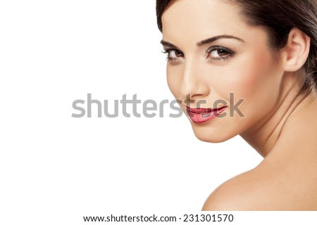 smiling beautiful woman posing on a white background - stock photo