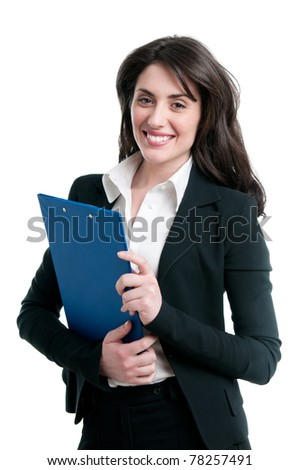 Smiling beautiful young business woman holding a clipboard isolated on white background