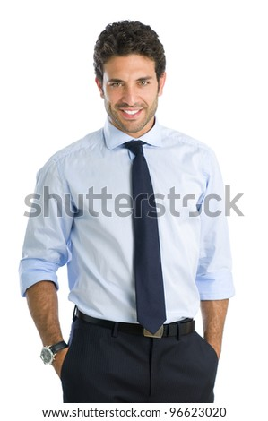 Smiling beautiful young businessman looking at camera with satisfaction - stock photo