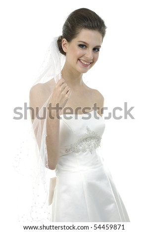 smiling beauty bride isolated on white - stock photo