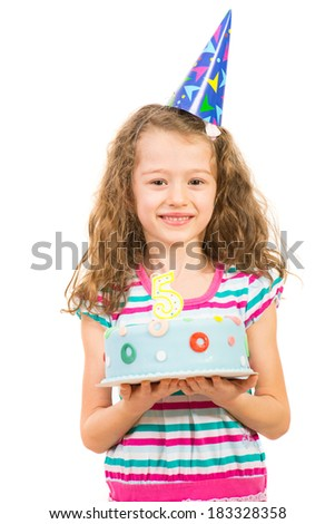 Smiling beauty girl with birthday cake made five years age isolated on white background
