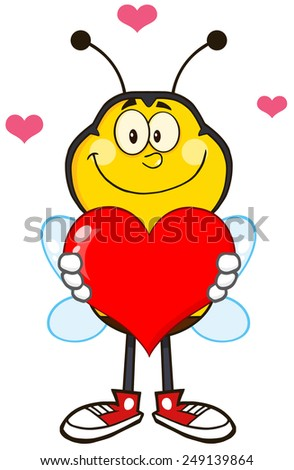Smiling Bee Cartoon Mascot Character Holding Up A Red Heart.Raster Illustration Isolated On White - stock photo