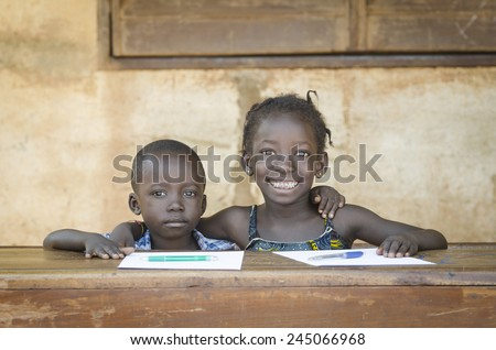 Smiling Black Children: African Ethnicity Education Symbol Schooling - stock photo