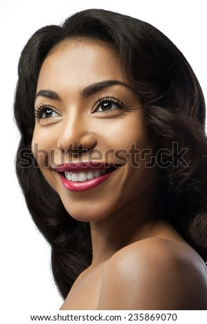 Smiling black girl with beautiful hairstyle, make up with red lips