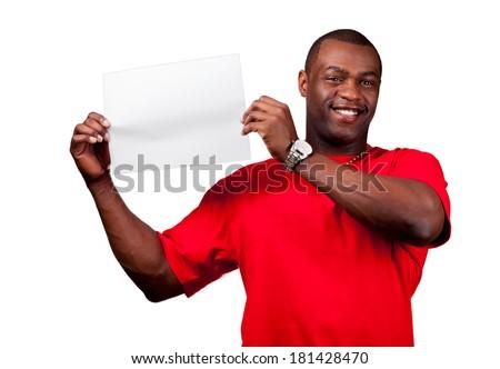 Smiling black man holding blank paper isolated on white background - stock photo