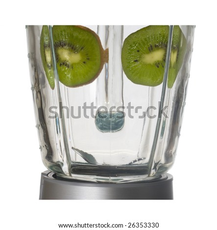 Smiling blender on white background with eyes made of kiwi