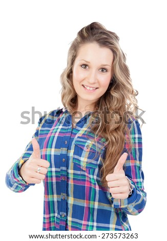 Smiling blonde girl saying Ok isolated on a white background