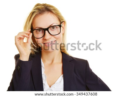 Smiling blonde happy businesswoman with black glasses