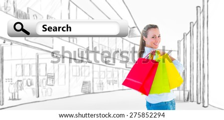Smiling blonde holding shopping bags against search engine - stock photo