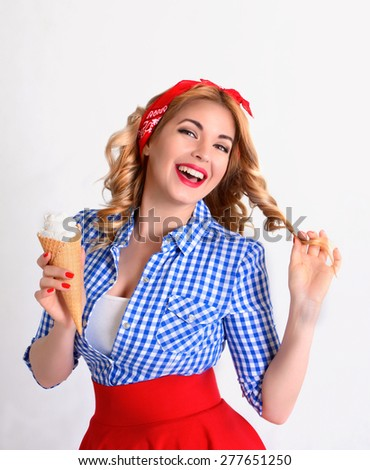 Smiling blonde holds a wafer cone with ice cream in retro style - stock photo