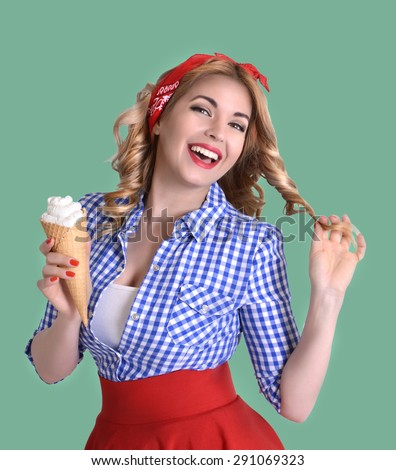 smiling blonde holds a wafer cone with ice cream in retro style
