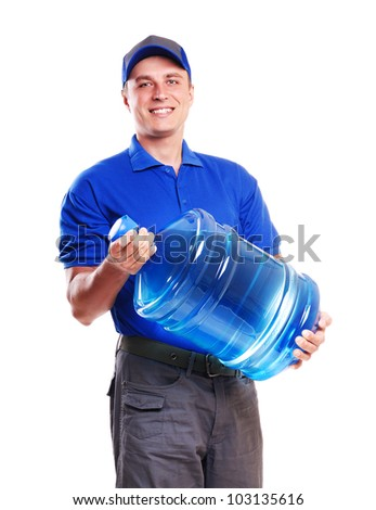 Smiling bottled water delivery courier on a  white background