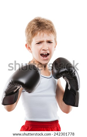 Smiling boxer child boy in boxing gloves training martial art sport white isolated - stock photo