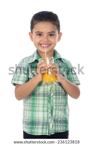 Smiling Boy Drinking Orange Juice With A Straw - stock photo