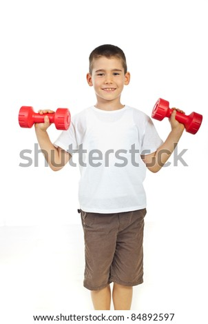 Smiling boy exercising with barbell isolated on white background - stock photo