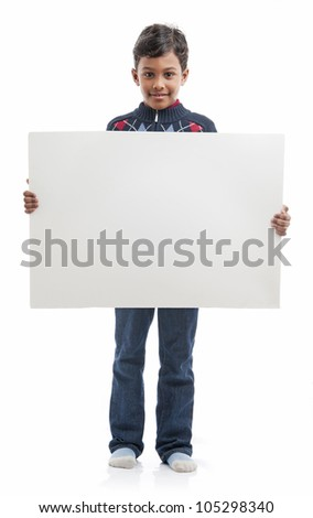 Smiling Boy Holding Blank Board - stock photo