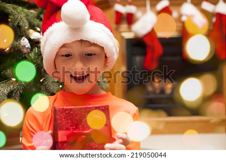 Smiling boy holding his present near the christams tree  - stock photo