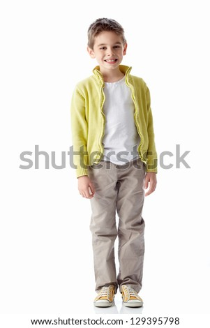 Smiling boy on a white background - stock photo