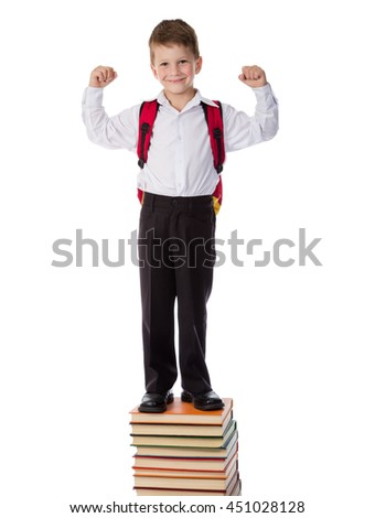 Smiling boy standing on pile of books, knowledge is a power concept, isolated on white