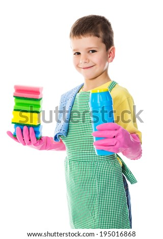 Smiling boy with colorful sponges and scouring powder, isolated on white - stock photo