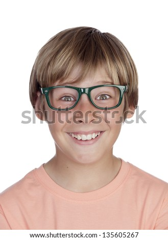 Smiling boy with glasses isolated on a white background