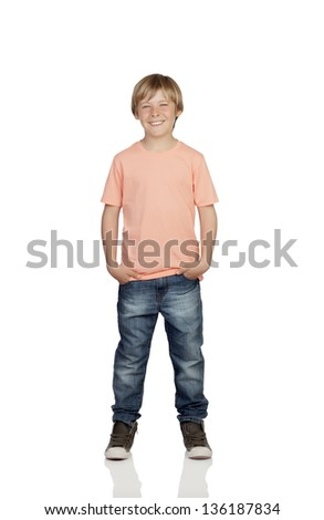 Smiling boy with jeans standing isolated on white background - stock photo