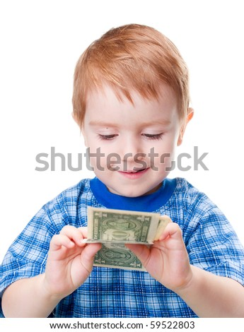 smiling boy with money dollar banknote. isolated on a white background. - stock photo
