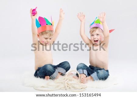 Smiling boys - stock photo