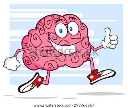Smiling Brain Cartoon Character Jogging And Giving A Thumb Up. Raster Illustration With Background