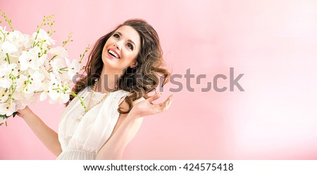 Smiling brunette beauty - stock photo