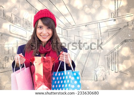 Smiling brunette opening gift bag against light glowing dots design pattern