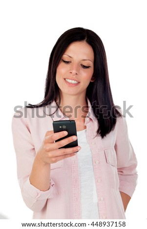 Smiling brunette woman looking mobile isolated on a white background - stock photo