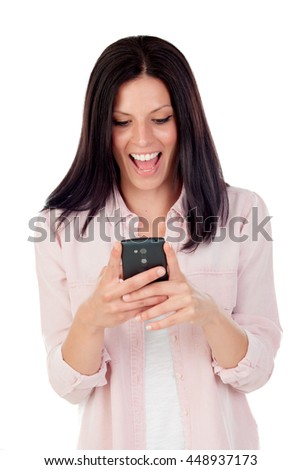 Smiling brunette woman looking mobile isolated on a white background