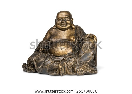 Smiling Buddha brass figurine on white background with clipping path. - stock photo
