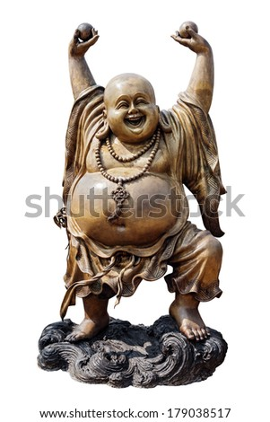 Smiling Buddha in Chinese Temple Viharn Sien, Wat Yan, Chonburi, Thailand. Sculpture isolated on white with clipping path