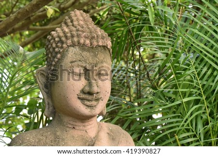 Smiling buddha with space
