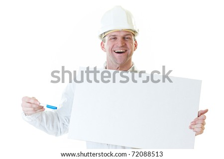 Smiling builder man with blank and pen in hemlet  isolated on white