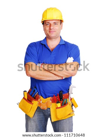 Smiling builder on white background - stock photo
