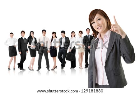 Smiling business executive woman of Asian have an idea in front of her team isolated on white background.