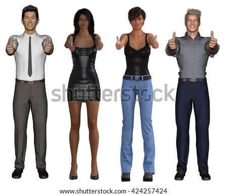 Smiling Business Group Giving Thumbs Up on White 3d Illustration Render - stock photo