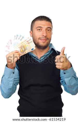 Smiling business man holding euro banknotes and giving thumb up isolated on white background - stock photo
