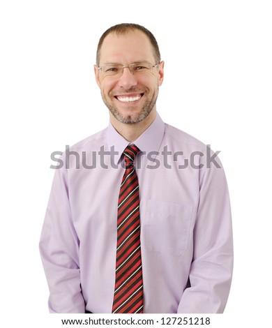 Smiling business man isolated on white background - stock photo
